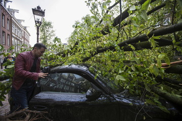 A fallen tree is seen atop the Porsche of Martin Javadzadeh after a heavy storm in Amsterdam, the Netherlands