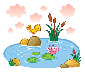The bird is standing on a rock in a pond. Lake with plants and reeds. Vector illustration in a cartoon style.