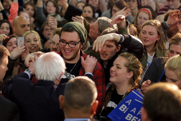 U.S. Democratic presidential candidate and U.S. Senator Bernie Sanders greets audience members at a campaign rally in Tulsa