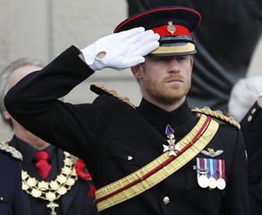 Britain's Prince Harry attends Armistice Day commemorations at the National Memorial Arboretum in Alrewas