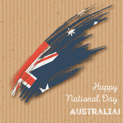 Australia Independence Day Patriotic Design. Expressive Brush Stroke in National Flag Colors on kraft paper background. Happy Independence Day Australia Vector Greeting Card.