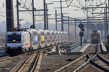 New Jersey Transit commuter trains are seen near the Secaucus Junction station in Secaucus