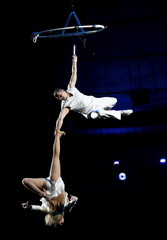 Acrobats perform during the presentation of a new show in Kiev