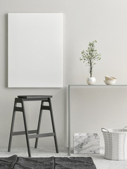 Interior composition with blank poster, 3d illustration
