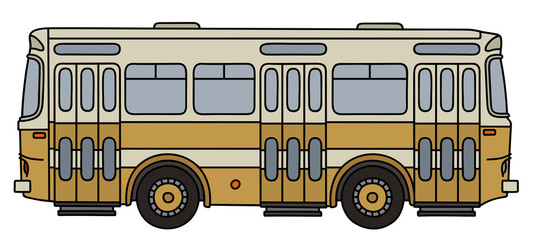 Retro yellow city bus