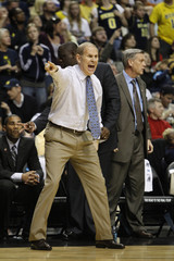 Michigan Wolverines' coach Beilein calls plays during the second half of their men's NCAA basketball game against the Ohio Bobcats in Nashville