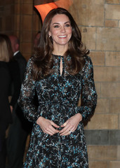 Britain's Catherine, Duchess of Cambridge arrives at the Natural History Museum to attend a children's tea party to celebrate Dippy the Diplodocus's time in Hintze Hall in London