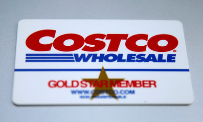 A Costco Wholesale membership card is seen in this photo illustration in Wilmette