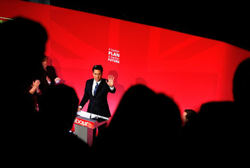 Britain's opposition Labour Party leader Ed Miliband speaks at an election campaign event in Stockton-on -Tees in northern England