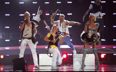 Sunstroke Project and Olia Tira from Moldova perform their song Run Away during a rehearsal for the Eurovision Song Contest in Oslo