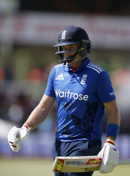 England's Root leaves the crease after he was bowled out by South Africa's Morris during the first ODI cricket match in Bloemfontein