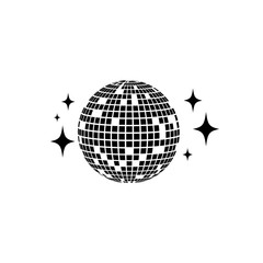 Disco ball Vector icon. Isolated club ball for party. Disco decoration element