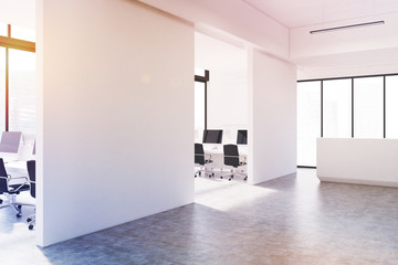 White open office and reception, side, toned