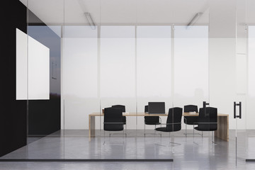 Minimalist conference room with poster