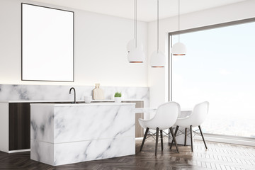 Marble kitchen with poster, side