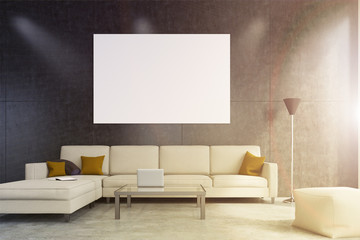 Beige sofa living room with poster