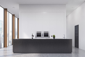 Kitchen with a bar, front