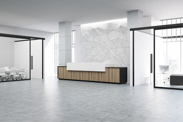 Wooden reception and meeting room