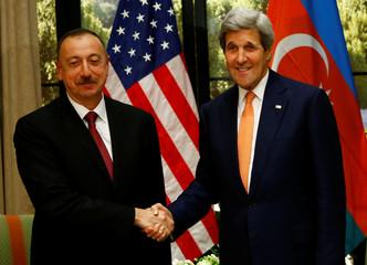 U.S. Secretary of State Kerry welcomes President Aliyev of Azerbaijan in Vienna