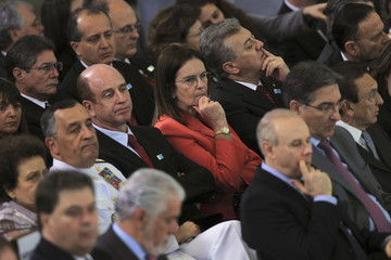 Maria das Gracas Silva Foster, chief executive of Brazil's state oil company Petroleo Brasileiro, attends a ceremony for the announcement of a port investment program at the Planalto Palace in Brasilia