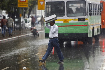 A commuter uses his briefcase to protect himself from rain in New Delhi