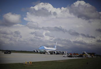 Air Force One sits on the tarmac at Fort Drum as U.S. President Barack Obama visits troops from the 10th Mountain Division in New York