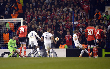 Benfica's Luisao scores a goal against Tottenham Hotspur during their Europa League soccer match at White Hart Lane in London