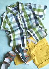 Summer clothing set for boy.Top view.