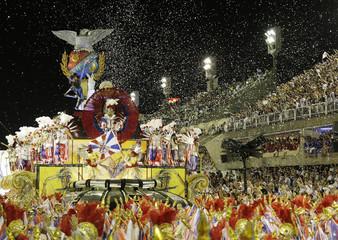 Revellers of the Uniao da Ilha samba school participate in the first night of this year's Carnival parade in Rio de Janeiro's Sambadrome