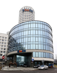 General view shows the BelVEB bank headquarters in Minsk