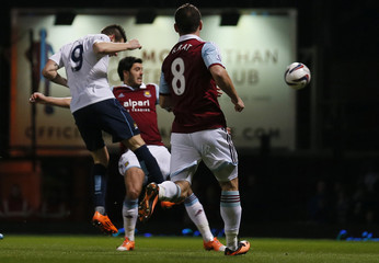 Manchester City's Negredo scores against West Ham United during their English League Cup semi-final second leg soccer match in London