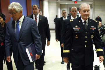 Hagel and Dempsey arrive to brief members of Congress on proposed military action against Syria, at the U.S. Capitol in Washington