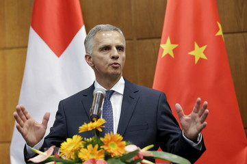 Swiss Foreign Minister Didier Burkhalter speaks at a joint news conference in Beijing