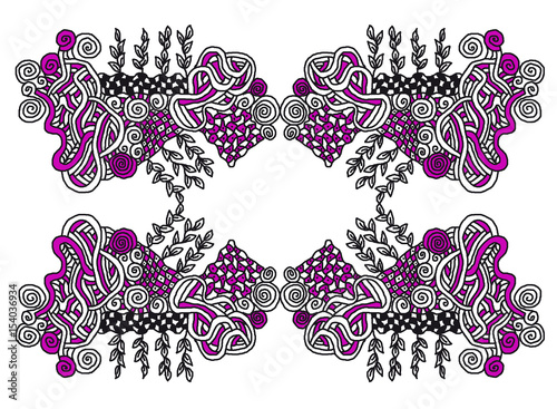 zentangle muster mit linien und blttern - Zentangle Muster