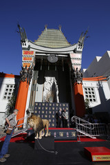 MGM mascot Leo the Lion is pictured before a paw print ceremony in the forecourt of the TCL Chinese theatre in Hollywood