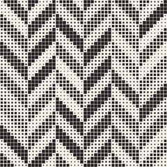 Seamless Irregular Geometric Pattern. Abstract Black and White Modern Halftone Background. Vector Rectangles Zigzag Texture