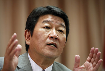 Japan's Economy, Trade and Industry Minister Toshimitsu Motegi speaks during an interview with Reuters in Tokyo