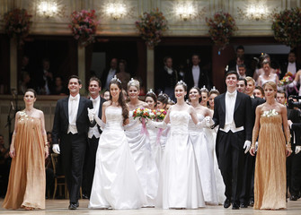 Members of the opening committe enter the dance floor during the opening ceremony of the traditional Opera Ball in Vienna