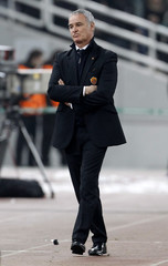 AS Roma's coach Claudio Ranieri leaves the pitch after a Europa League soccer match against Panathinaikos at Olympic stadium in Athens