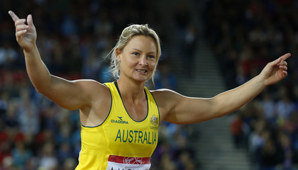 Australia's Kim Mickle reacts after she won gold in the women's javelin at the 2014 Commonwealth Games in Glasgow