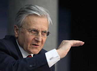 Trichet, President of ECB addresses the media during his monthly news conference at the ECB headquarters in Frankfurt