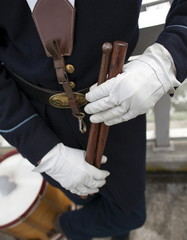 Union soldier re-enactor Ben Valentine of Waynesboro, Pennsylvania, holds his drumsticks during a re-enactment ceremony at Fort Sumter National Monument in Charleston