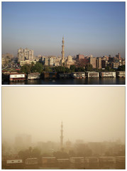 Combo photo of mosque in sunshine and during a sandstorm, in Cairo