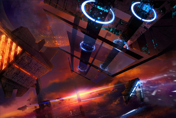 Illustration on a futuristic space station in a sky with sunset and space ships flying.