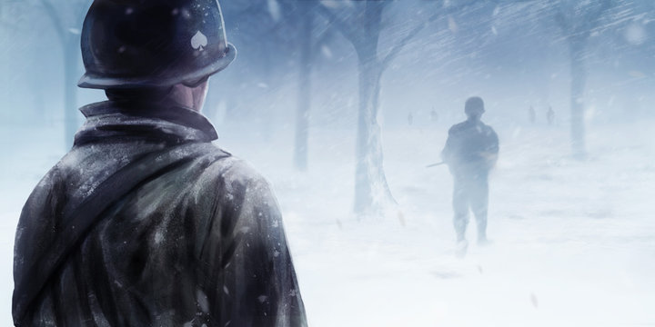 WW2 american soldier standing in winter forest and looking at black silhouettes walking forwards in a mist.
