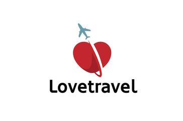 Creative heart aircraft Logo Design Illustration