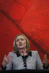 U.S. Secretary of State Hillary Clinton speaks during a news conference after a meeting with Brazil's Foreign Antonio Patriota at the Itamaraty Palace in Brasilia