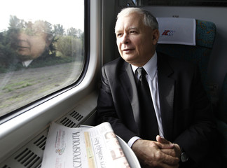 Kaczynski, leader of Poland's main opposition Law and Justice party (PiS), looks out the window as he travels by train from Warsaw to Gdansk