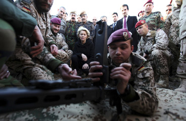 German Defence Minister Ursula von der Leyen visits the Zeravani Training Centre in Bnaslava near Arbil