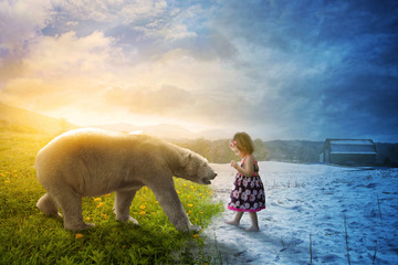 Polar bear and little girl